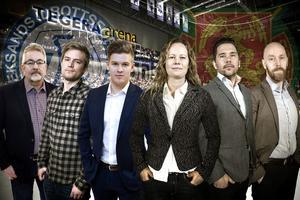 Här är Hockeypuls gäng som kommer bevaka Mora-LIF. Från vänster: Per Hägglund, Marcus Simm, Adam Johansson, Kari Östning, Markus Bäckström och Lars Dafgård.