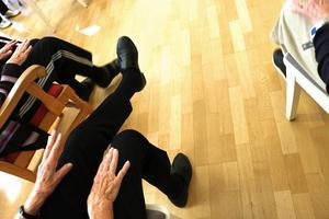 Under sittgympan tränades både koordination och styrka.