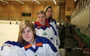 NY TRIO. Leksand har värvat tre spelare från Växjö Lakers. Lisa Johansson (närmast kameran), Anna Borgqvist och Fanny Åkesson.Foto: MÅRTEN LÅNG