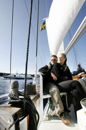 Henrik och Anki Norman från Sollefteå passade på att ta en tur på sjön på väg hem från semester i södra Sverige.