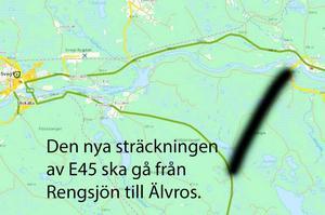 Här planeras den nya vägsträckningen av E45 förbi Sveg.