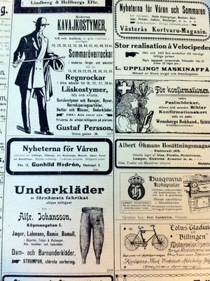 Välklädd vill man ju vara. 1912 kunde den prydlige herren välja mellan ett stort antal olika typer av kostymer för olika tillfällen. Annonsen är från vlt år 1912.