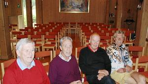Bengt Jonsson, Sten-Ove Rådström, Åke Hjelm och Jerker Forsgren berättade sångarminnen. Sten-Ove har varit med längst av de fyra. Han gick med i kören på 70-talet.