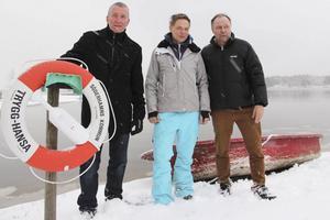 Thomas Thyr, Stefan Barenfeld och Thomas Gunnarsson på Stenö.
