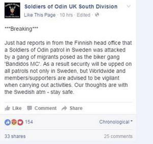 Soldiers of Odin i Storbritannien uppmärksammade händelsen.