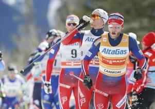 Norska landslagsåkare i skidor; Martin Johnsrud Sundby, Didrik Tønseth och Niklas Dyrhaug. Arkivbild.