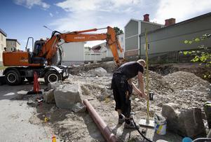 Byggherrens Robert Fredriksson, Hudiksvall, bygger nya lägenheter i längs Långgatan.