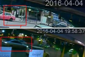 Här ses Ramin Sherzaj på promenad med flickvännen i höjd med Lido på Söder. Några minuter senare kommer bilen med de misstänkta mördarna och parkerar på Slottstorget.