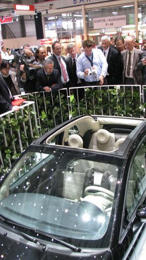 INTRESSANT. Ett tygtak på Fiat 500 lockade många. Häftigt mitt i all grönska, tyckte Fiat, som lyfter på hatten för sin lilla storsäljare.