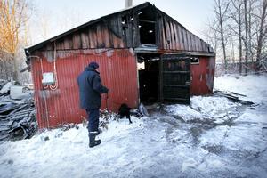 Polisens brandhärdshundar, som är tränade att påvisa brännbara vätskor, markerade på två ställen när de i går sökte igenom resterna av det brunna stallet. Här är hunden Kenzo och hans förare Lars Ekström i gång och arbetar.