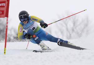Anna Swenn-Larsson, of Sweden, competes during the women's FIS Alpine Skiing World Cup giant slalom race, Saturday, Nov. 26, 2016, in Killington, Vt. (AP Photo/Charles Krupa)