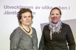 Christina Storm Wiklander och Maria Salomonsson presenterade arbetsförmedlingens yrkeskompass.