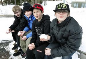 11:56 De här grabbarna tillbringade onsdagsförmiddagen med att kasta snöboll. Annars tycker de att det är roligt att spela dator på lovet också. Från vänster sitter Jimmy Bäckström Sjöblom, 13 år, Tony Svensson, 13 år, Marcus Dahlberg, 11 år och Andreas Svensson, 17 år.
