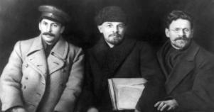 Josef Stalin, Vladimir Lenin och Michail Kalinin.