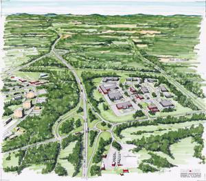 Skiss över Järbovägen och handelsområde Tuna sett från Sandviken. Till vänster syns höghusen i Norrsätra och Gästrike Återvinnings miljöstation nere till höger. Detta är en skiss över en ny rondell vid nya Trafkplats Tuna men illustrationen illustrerar även Järbovägen där en ny separat gång- och cykelväg kan komma att löpa jämsides med vägen.