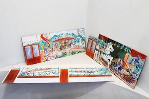 Tivolimotiv. Skisserna till väggmålningarna till Pershagenskolans matsal finns kvar. Marja och Gudmund hade väldigt roligt på Gröna Lund när pappa jobbade med skisserna.