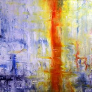 """Utställningens höjdpunkt. """"Synonym för ensamhet"""", en av Anna Nybergs abstrakta målningar i nya utställningen på Gävle sjukhus Galleri Elixir."""