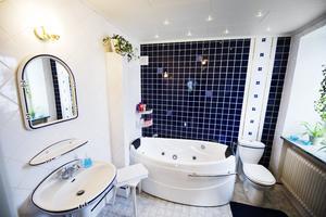 Badrummet är modernt, och med mörkblå accenter.