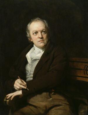 Den brittiske poeten, konstnären och mystikern William Blake är en stor inspirationskälla för Ellen Nordmark och det var hans dikter som fick henne att börja skriva poesi. Målning av Thomas Phillips från 1807 .