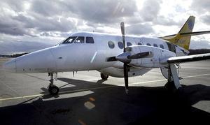 Ett flygplan av den här typen var det som kanade av banan. Ett Jetstream.