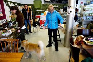 Raija Hietaniemi har gått en promenad med gänget och ska nu hämta kaffe. Cavalieren Ville är lite sugen på skinkmackan.