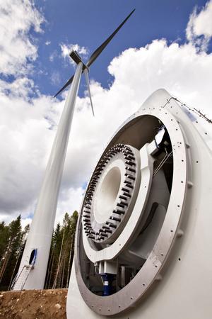 Vindkraftparken på Jädraås. I det här så kallade maskintornet ska vingarna fästas för att omvandla vind till energi.