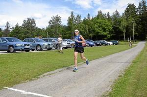 Vinnare. Johan Eriksson var förste löparen som kom i mål.