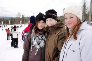 """Kompisarna Elin Hennebo, 16 år, Katrin Eriksson, 15 år, och Emmelie Nyström, 14, hejade på åkarna i spåret. """"Mest hejar vi på Teodor Peterson"""", säger de."""