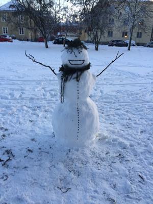 Äntligen har snön kommit!Hälsningar August och Amandaskapare av snögubben Herbert