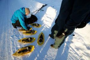 – Stor sko till lös djupsnö, mindre modell räcker gott då snötäcket inte är alltför djupt, förklarar Crister Löfgren, kännare på snöskor.