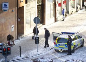 Polisen har vid flera tillfällen avhyst tiggare i centrum den senaste tiden men det är första gången man gripit och bötfällt någon.