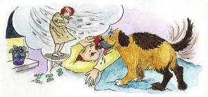 Siv blir väckt av Johansson i en av Pia Niemis bredvidläsningsböcker om tanten och hennes hund.