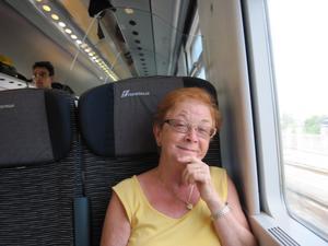 På tåget mellan Pisa och Sanremo Italien.