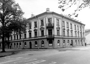Lilla Westmannia.  Trädgårdsgatan - Kopparbergsvägen i Västerås. Bilden togs under 1950-talet. Dåvarande adressen var Trädgårdsgatan 8.