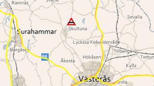 De gulmarkerade vägbanorna innebär att det i området är risk för besvärligt väglag.