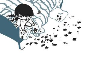 När Frank vaknar på morgonen är han alldeles svart om fötterna och bredvid sängen ligger blad och kvistar. Han börjar förstå att nattens dröm om att springa på alla fyra och ha päls och svans kanske inte var en dröm ändå.