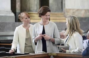 Partiledarna Annie Lööf (C), Anna Kinberg Batra (M) och Ebba Busch Thor (KD) under tacksägelsegudstänsten för prins Alexander i Slottskyrkan i Stockholm.