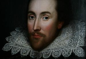 Shakespeares påstådda huvud när han fortfarande var i livet, enligt porträtt av okänd konstnär.