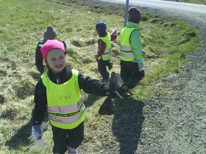 Barnen från Sparvens förskola i Edsbyn var entusiastiska och plockade skräp för glatta livet.FOTO: SUSANNE VANBERG