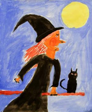 Emilia Backe, 11 år, Brunflo. Målmedveten häxa med katt på kvast.