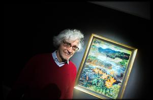 Peter Lyne vid målningen