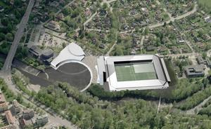 FRAMTIDEN? Enligt de nya  planerna  blir  det en helt ny fotbollsarena vid Strömvallen med plats för   8 000–10 000 åskådare.