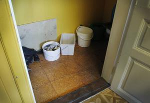 Bärplockarna tvingas tvättar sina kläder i hinkar, eftersom det inte finns någon tvättmaskin i lokalerna.