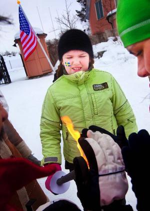 Hanna Strömberg fick äran att bära OS-facklan. Foto: Håkan Luthman