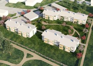 28 bostadsrätter ska byggas i tvåplanshus, där marklägenheterna har uteplats och andraplansvåningen balkong. Mest treor blir det, men även tvåor och fyror.