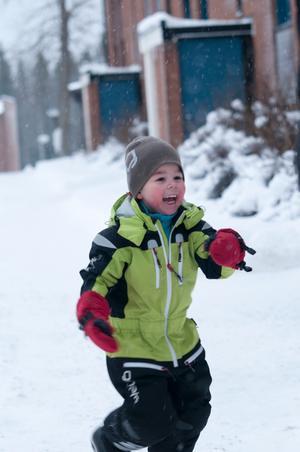härligt med snö tycker  mitt barnbarn adrian som bor i jämtland bilden tagen december 2011