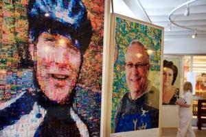 Bilden av cyklisten handlar om engagemang i alla former. Porträttet är byggt  av små bilder av rosa bandet-kampanjer, cancergalor, insamlingar på stan och mycket annat.Foto: Ulrika Andersson