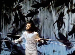"""Briljerar. Edith Södergrans """"Skogsdunkel"""" får ett nytt ansikte när Jimmy Jönsson knyts fast med rep. Samtidigt som massvis av insekter visas på skärmen."""