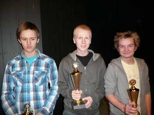 Prispallen. De tre bästa i grupp A: Nicolai Getz, Norge (2:a), Roope Kiuttu, Finland (1:a) samt Rasmus Janse, Sverige och Västerås (3:a). FOTO: RASMUS MYKLEBUST