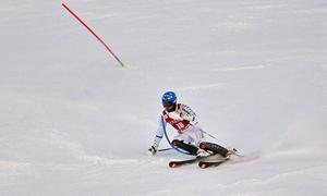 Mattias Hargin blev bäste svensk i slalomtävlingarna på söndagen. Här är han i sitt första åk.